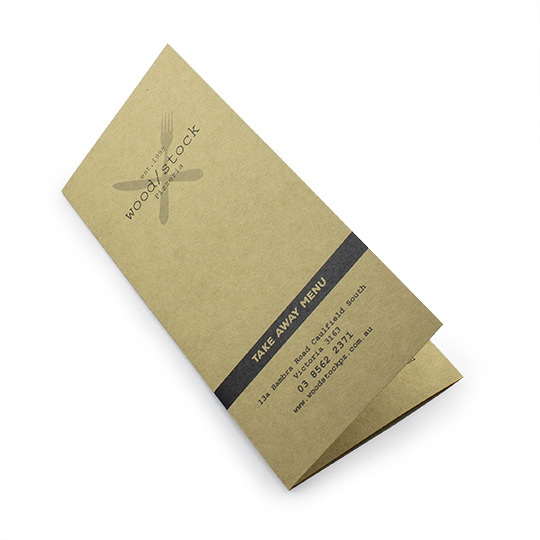 A4 folded to DL Take Away Menu Kraft Paper