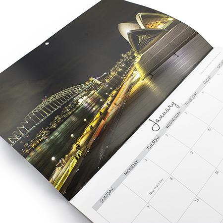 A4 Saddle Stitch Hard Cover Calendar