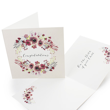 148mm Square folded Greeting Card 350gsm Uncoated