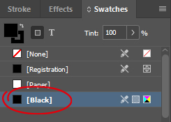 InDesign Black Swatch